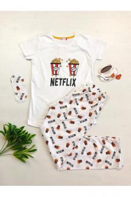 Pijama dama ieftina primavara-vara cu tricou alb si pantaloni lungi albi cu imprimeu NX
