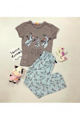 Pijama dama ieftina primavara-vara cu tricou gri si pantaloni lungi albastri si imprimeu Olaf