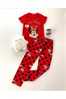 Pijama dama primavara-vara din bumbac cu pantaloni lungi rosii si tricou rosu cu imprimeu MM si buline negre