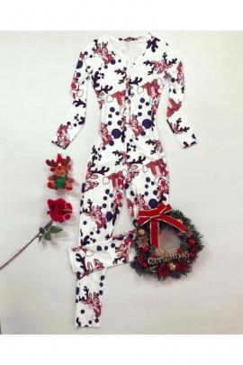 Pijama dama tip salopeta lunga alba cu maneca lunga si imprimeu Rudolf