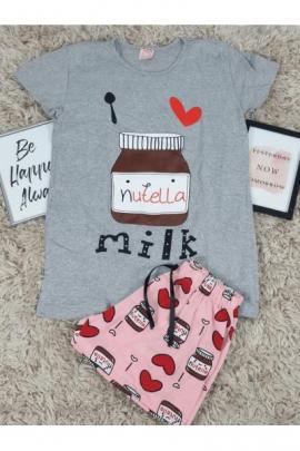 Pijama scurta Nutella gri