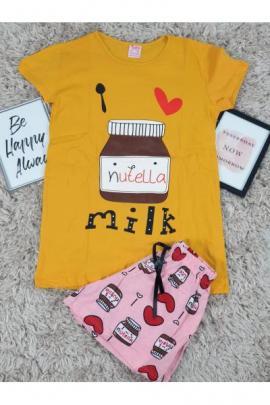 Pijama scurta Nutella mustar