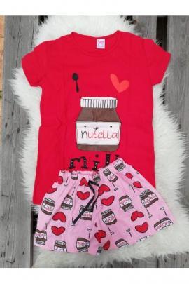 Pijama scurta Nutella rosu