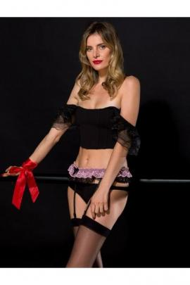 Portjartier dantelat negru cu roz Knittex Glam 02