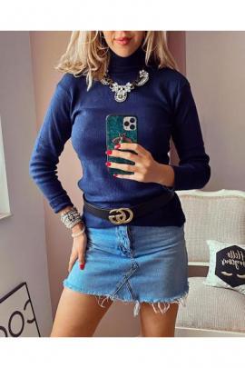 Pulover dama ieftin gros bleumarin reiat model simplu pe gat