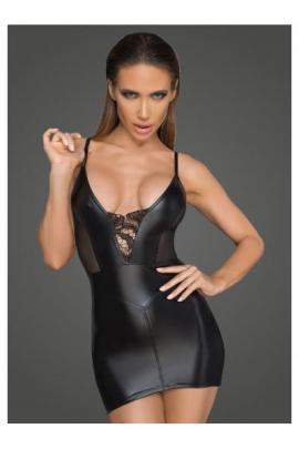 Rochie sexy din material usor lucios, ce-ti va pune in valoare frumusetea corpului. F205 Negru
