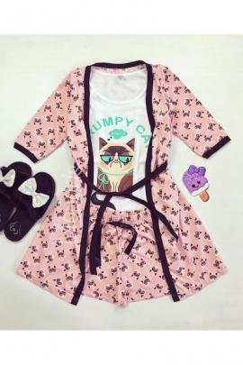 Set pijama dama 3 piese alcatuit din maieu + pantaloni scurti + halat roz cu imprimeu Grumpy Cat