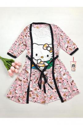 Set pijama dama 3 piese alcatuit din maieu + pantaloni scurti + halat roz cu imprimeu Hello Kitty