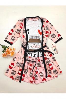 Set pijama dama 3 piese alcatuit din maieu + pantaloni scurti + halat roz cu imprimeu Nutella