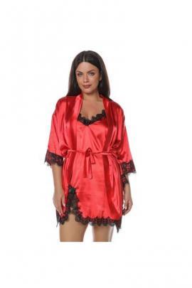 Set pijamale 2 piese din satin Dalia rosu