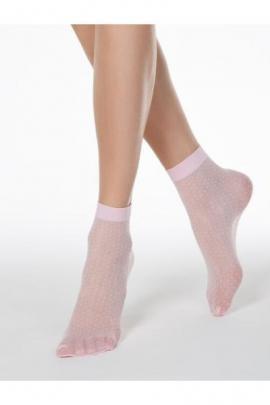 Sosete lycra roz cu picatele marunte Conte Elegant Thin Dots 40 den